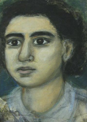 "Margaret Marcus age 22, ""My self portrait, June 1956"""