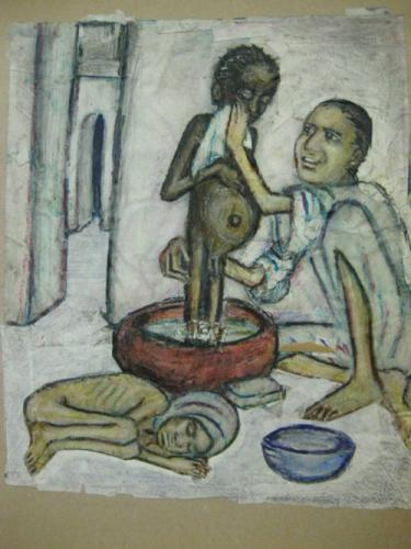 Arab father bathing son